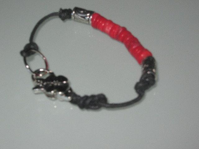 art 160 bracciale  in corallo rosso di mare naturale con argento tibetano anallergico