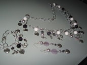 art 260 collana in agata viola trasparente, con orecchini e bracciale con argento tibetano anallergico