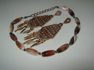 art  159 collana in agata bianco marrone  trasparente, perle drum, con orecchini e argento tibetano anallergico