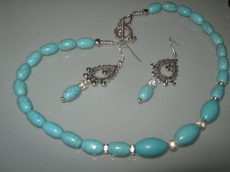 art 45 collana in pasta di turchese naturale con orecchini in argento tibetano anallergico