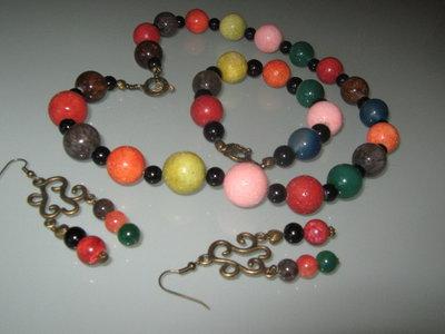 art 1032 collana in agata multicolore vera pietra naturale con inserti colore bronzo anallergico