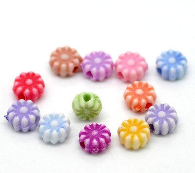 100 Misto Distanziatori Perle Perline Fiore in Acrilico 6mm Dia