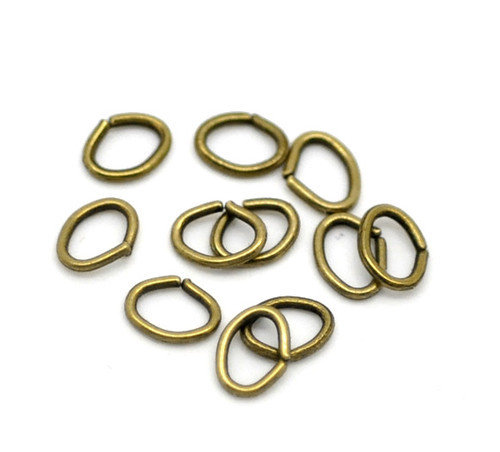 120  Anelli Aperti Ovale Color Bronzo 5x4mm