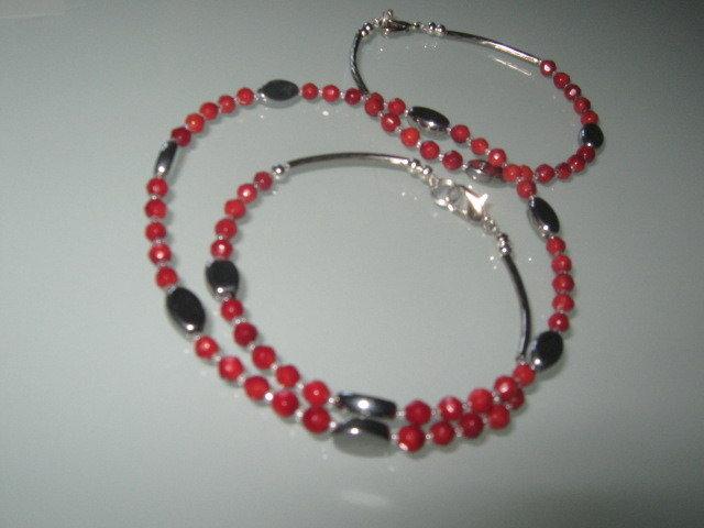 art 276 collana unisex uomo /donna con bracciale, in corallo rosso di mare, perle sfaccettate.con argento tibetano