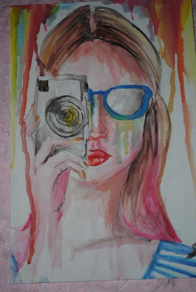 Cartone telato ragazza che fotografa