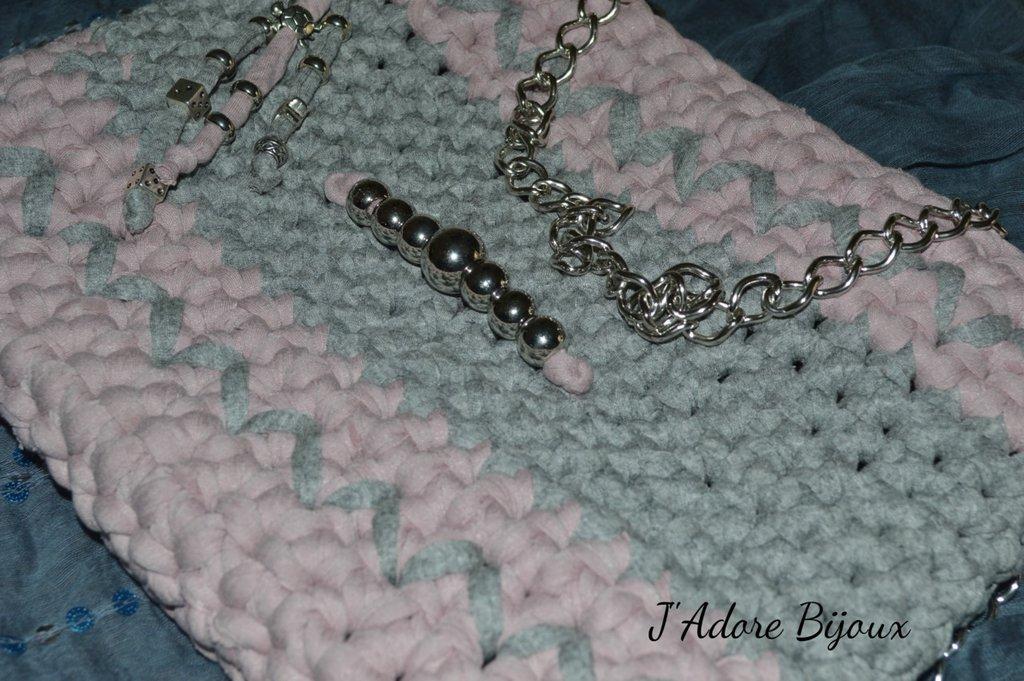 Borsa fettuccia rosa antico e grigio
