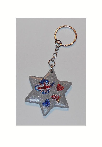 Portachiave in pasta fimo con immagini glitter - London Style