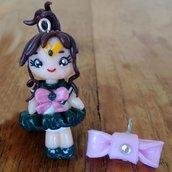 Ciondolo Sailor Jupiter fatto a mano in fimo (orecchini, braccialetto, portachiavi, collana)