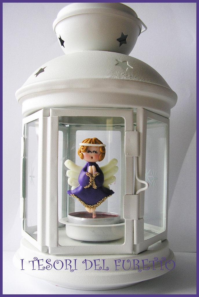 "Lanterna ""Fufuangel Viola"" Candela, portacandela Bomboniera fimo cernit kawaii"