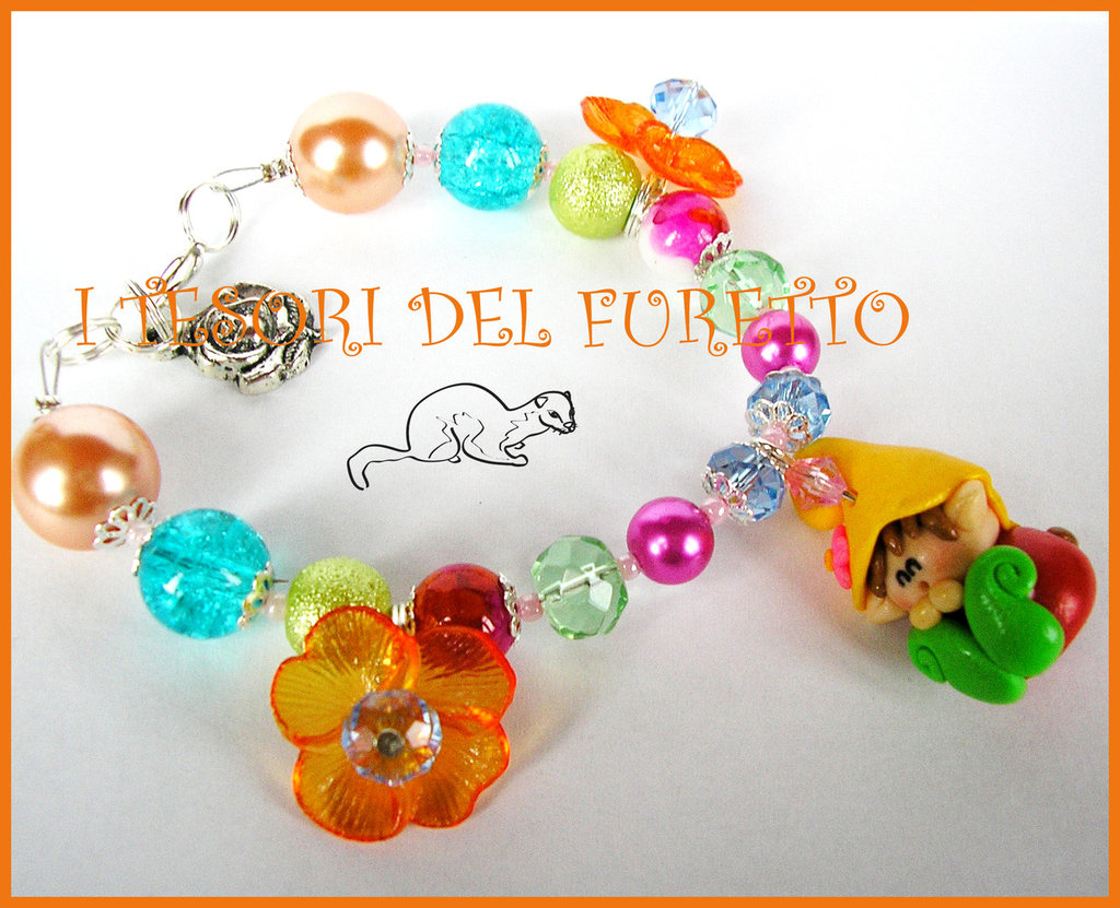 "Bracciale ""Folletto Fiori Arancio"" Fimo cernit kawaii idea regalo estate"