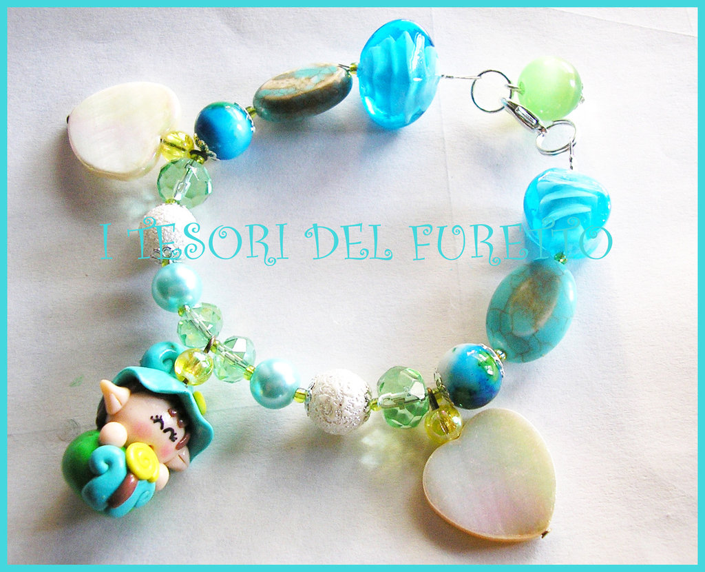 "Bracciale ""Folletto Turchese Cuori avorio"" fimo cernit kawaii estate"