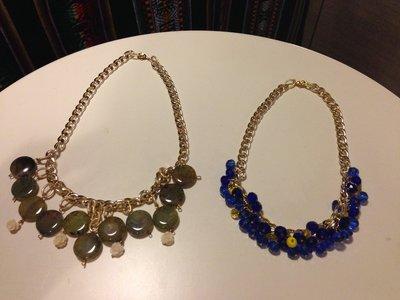 collana catena oro e perle in resina