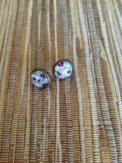 Orecchini a lobo Purple Roses 12 mm