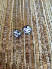 Orecchini a lobo Purple Roses 12 mm