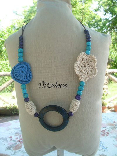 Collana etnica azzurra