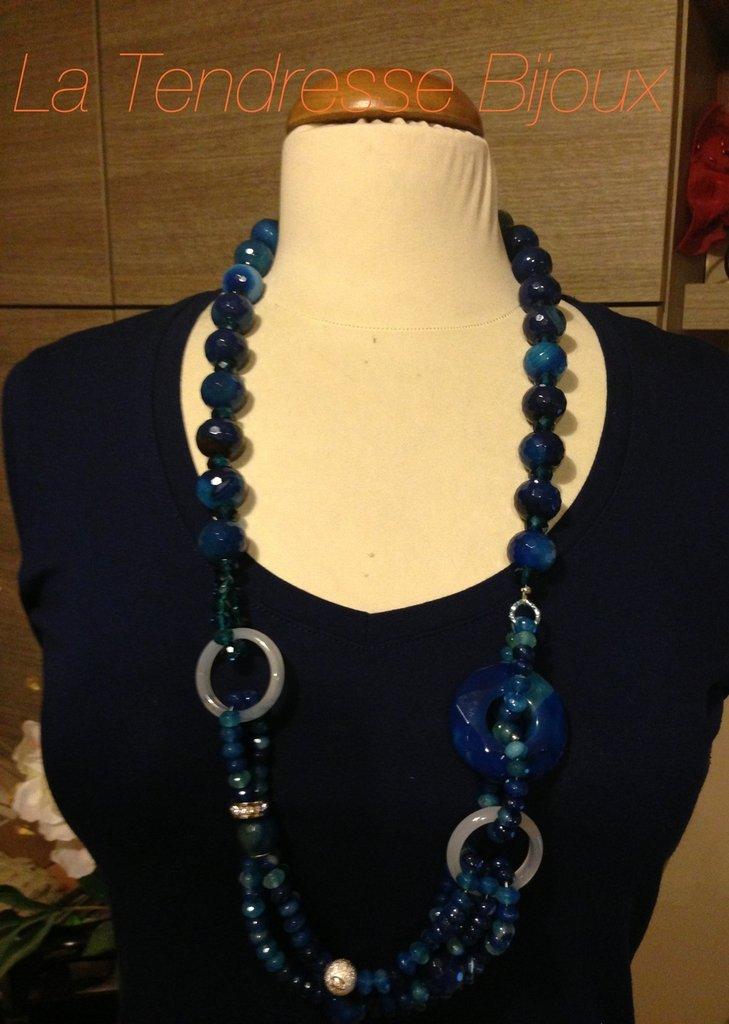 collana agata brasiliana blu