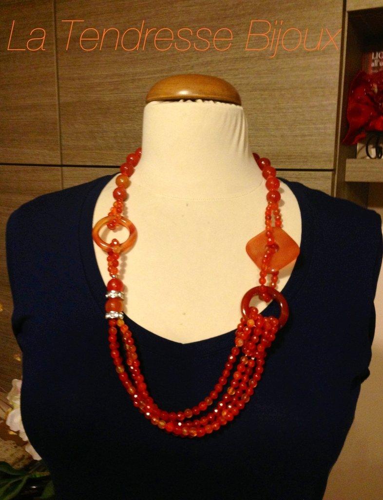 collana agata brasiliana arancio