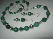 art  15 collana in agata verde  trasparente, perle round sfaccettate, con orecchini e bracciale, argento tibetano anallergico