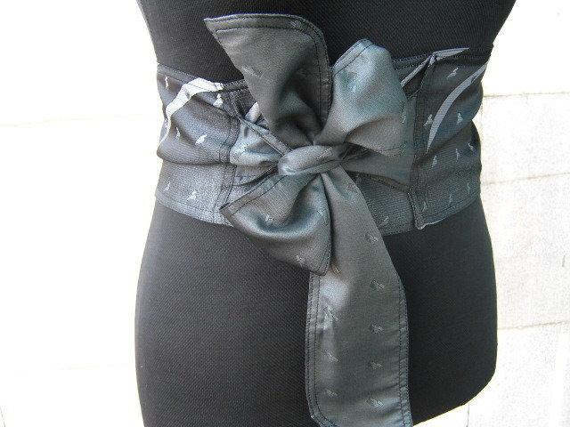 ricamato grigio corsetto-cintura