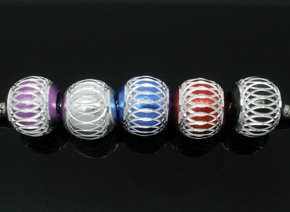5 Mix Perle Lanterna in Alluminio a Foro Largo Europeo 12mm SCONTATO
