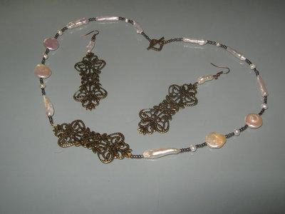 art 155 collana in perle di fiume naturali freschwater perarls e argento tibetano anallergico, colore bronzo