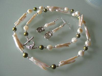 art 149collana in perle di fiume naturali freschwater perarls e argento tibetano anallergico,