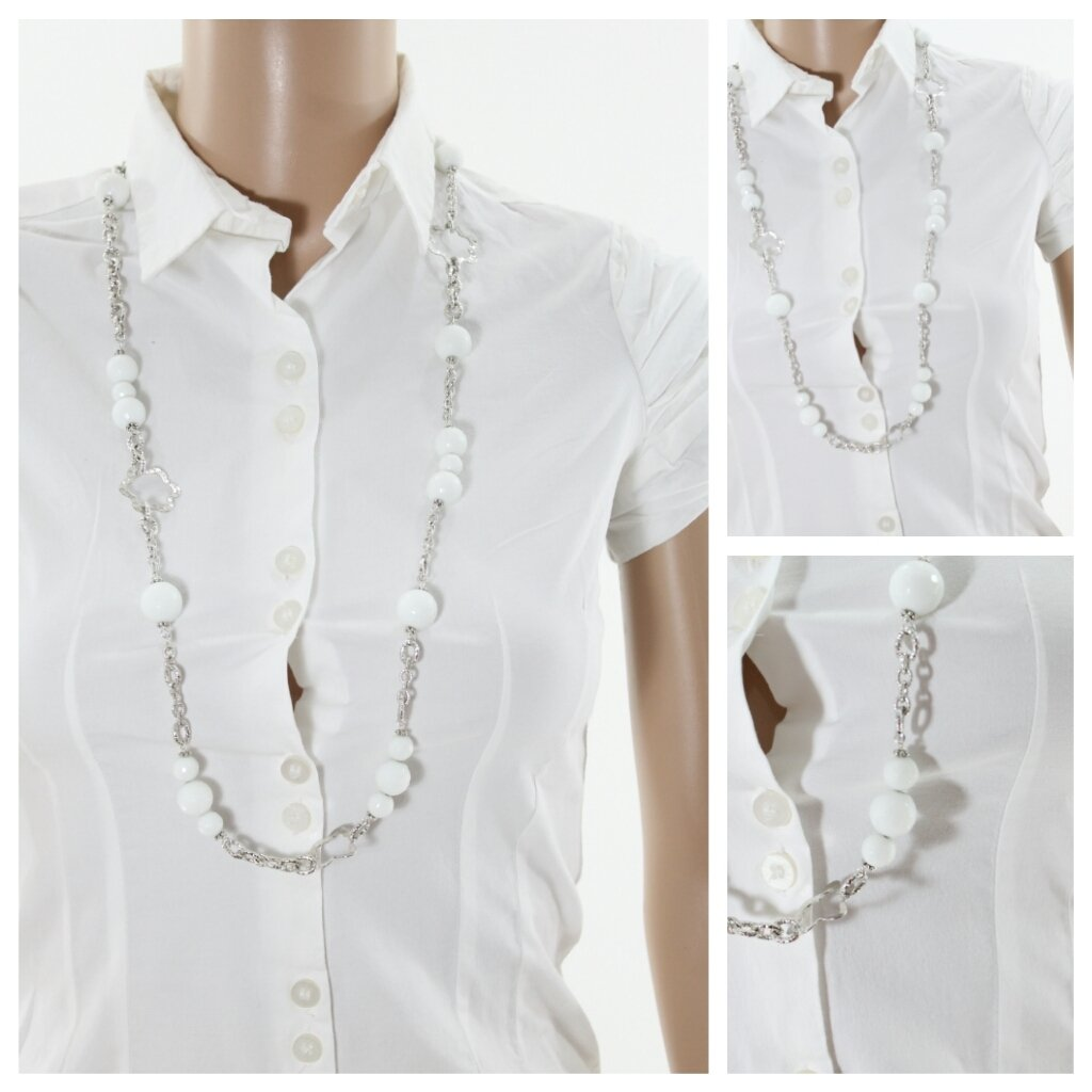 collana con agata bianca