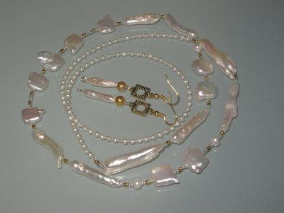 art 88 collana in perle di fiume naturali  e argento tibetano anallergico colore oro