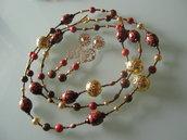art 151 collana in corallo spugna rosso naturale di mare e giada marrone con orecchini argento tibetano colore oro