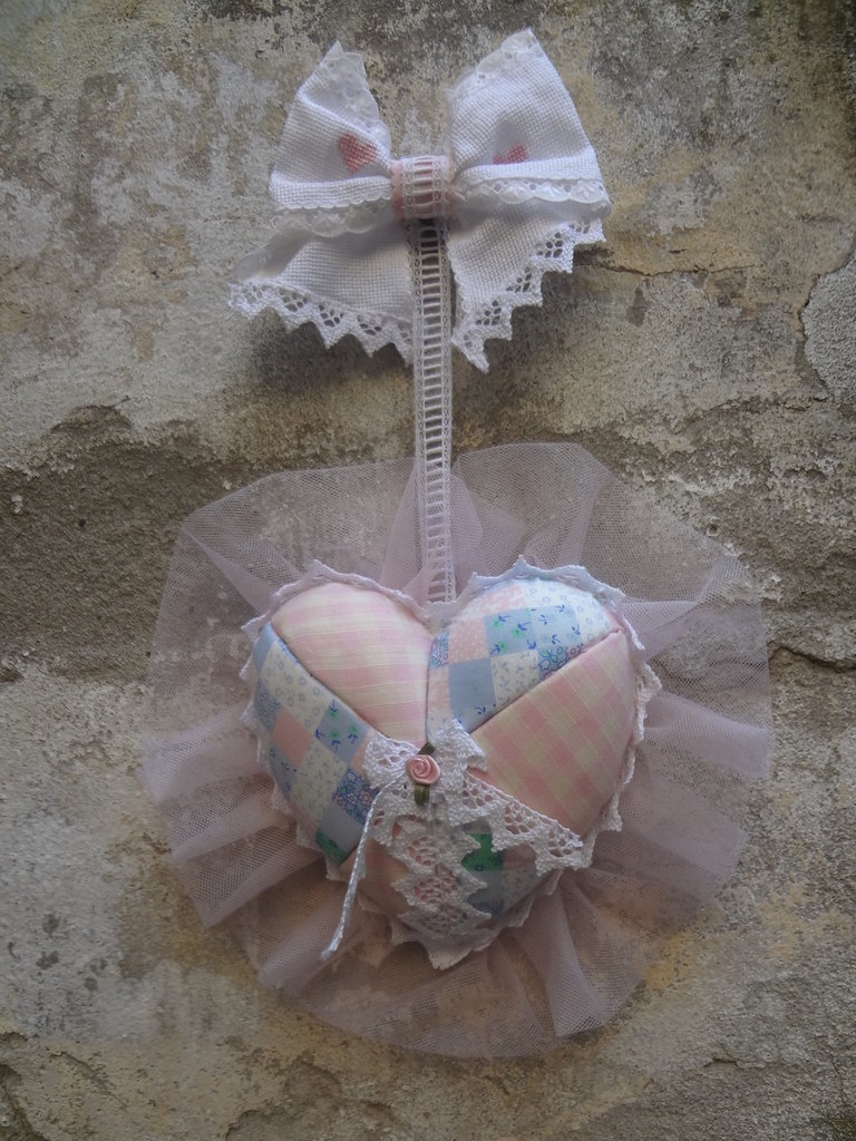 fiocco cuore nascita femmina patchwork su polistirolo