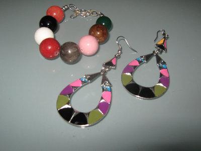 art 166 bracciale e orecchini argento tibetano anallergico e  agata multicolore