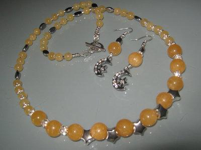 art 100 collana in giada gialla naturale con orecchini in argento tibetano anallergico