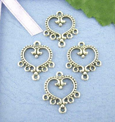 basi connettori forma cuore con 5 anellini argentati