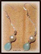 Orecchini in amazzonite, perle swarovski e argento
