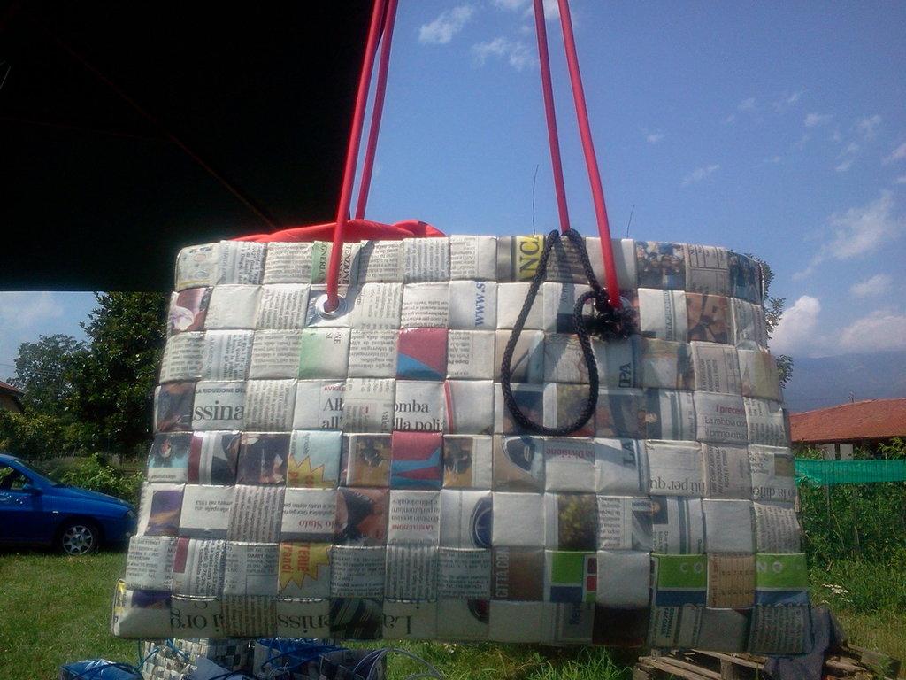 borsa di carta di giornale mod.OVAL-TELA