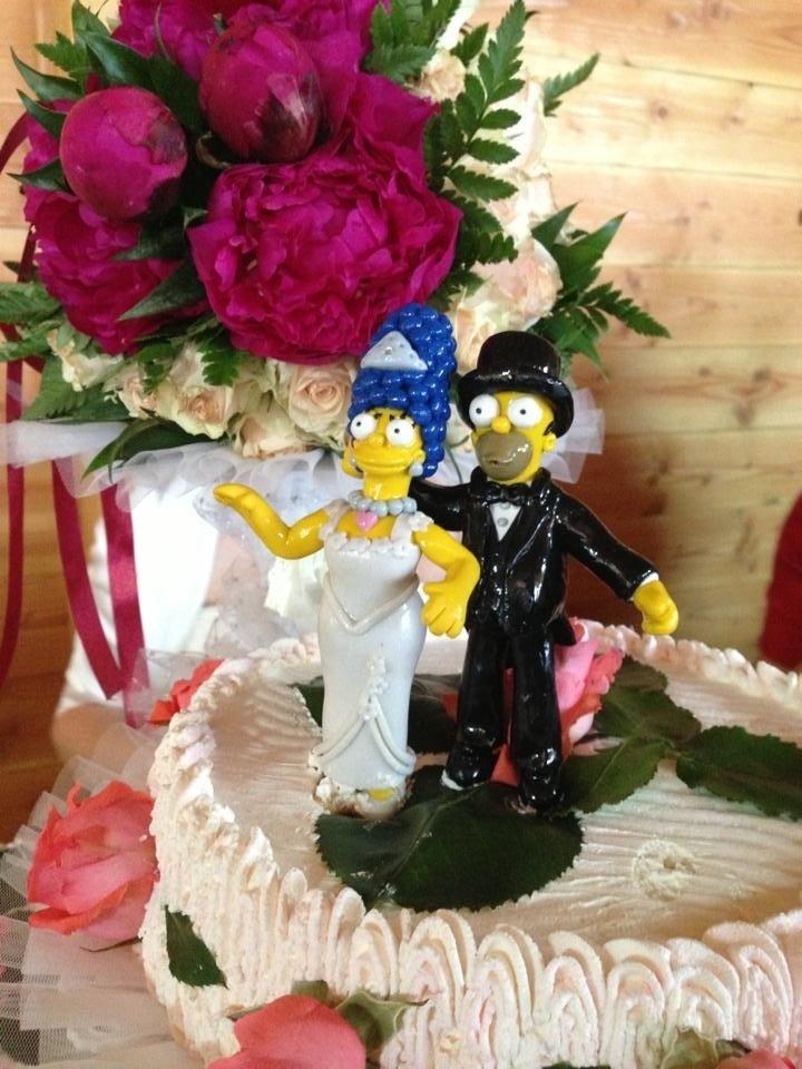 Marge ed Homer top cake matrimonio