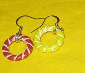 orecchini pendenti con 2 anelli come ciondolo