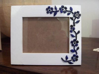 cornice portafoto fiori blu
