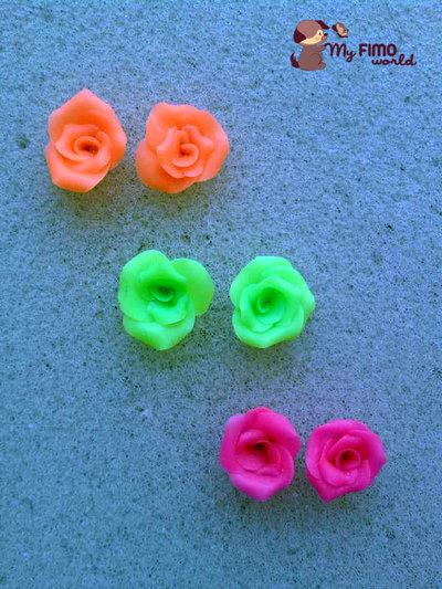 Orecchini a lobo con rose (colori neon) fimo