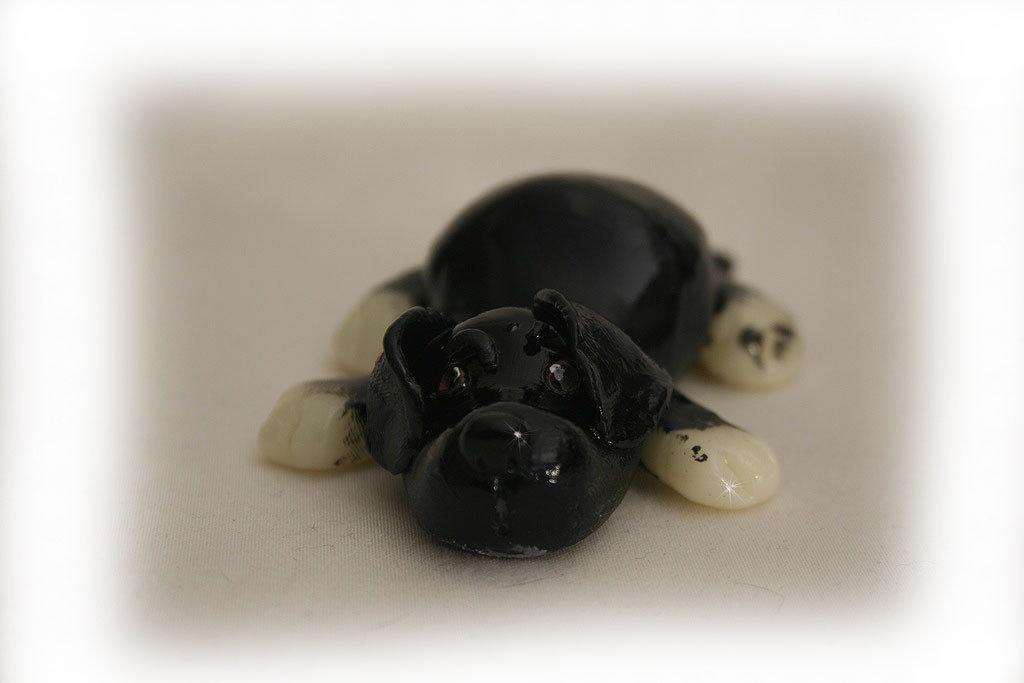 Cane nero portafortuna, realizzato a mano; personalizzabile
