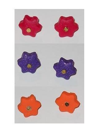 orecchini a perno con fiore stilizzato in fimo - mod.H03