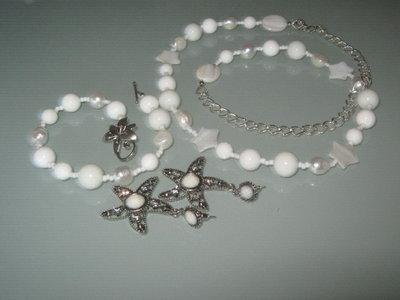 art  293 collana in agata bianca, perle di fiume naturali, con orecchini e bracciale, in argento tibetano anallergico