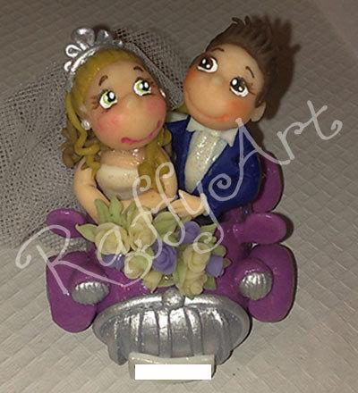"""Cake topper con sposini per torte di matrimonio """"Inizia il viaggio insieme!"""""""