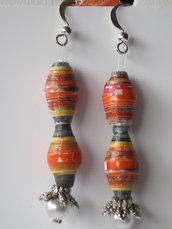 orecchini clessidra arancio etnico