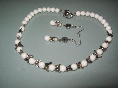 art  177 collana in agata, perle drum, con orecchini e argento tibetano anallergico