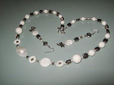art 180 collana in agata, perle drum e madreperla, con orecchini e argento tibetano anallergico