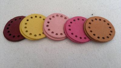 10  dischetti in pelle forata accessori per uncinetto e fettuccia