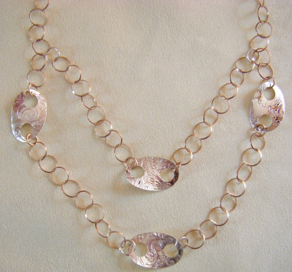 collana con catena in argento 925 colore rame e argento