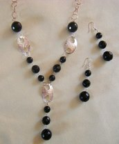 parure, collana e orecchini con catena in argento 925 e pietre dure, onice nero
