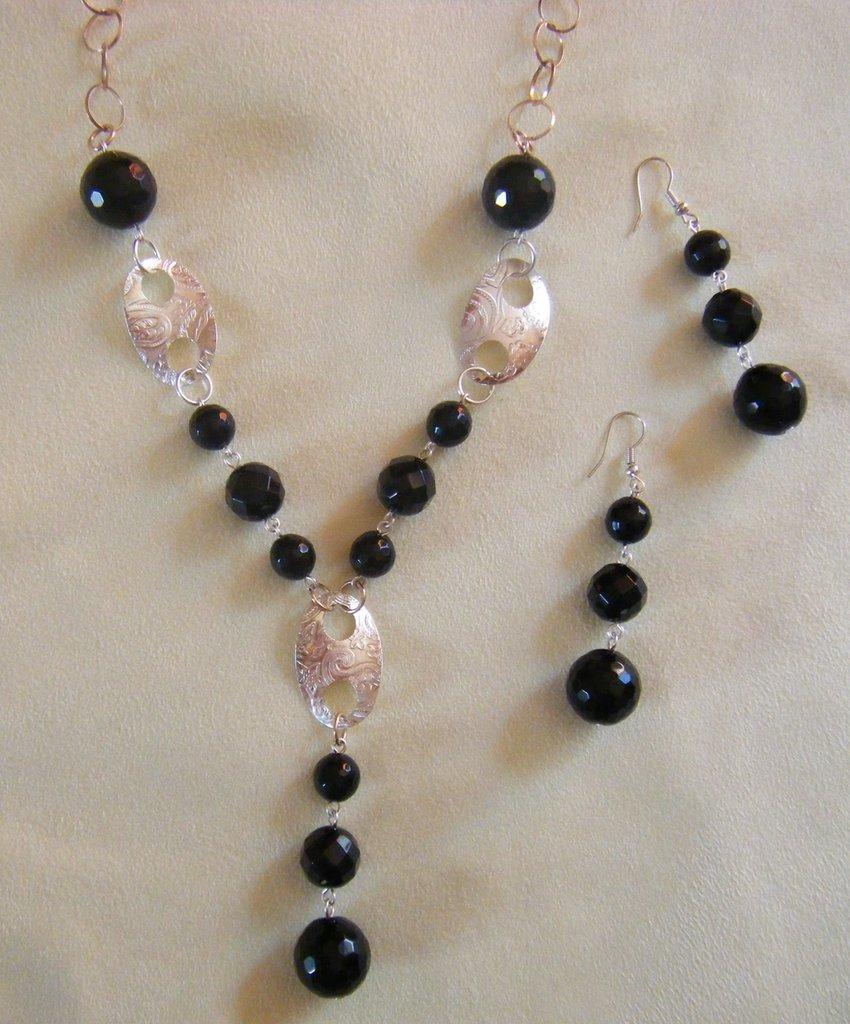 Top parure, collana e orecchini con catena in argento 925 e pietre  PA52